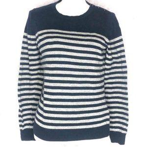 Boden Womens Size 12 Crew Sweater Navy Gray Stripe